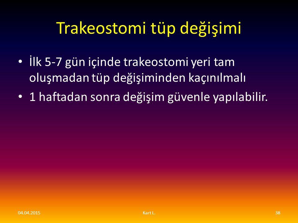 Trakeostomi tüp değişimi İlk 5-7 gün içinde trakeostomi yeri tam oluşmadan tüp değişiminden kaçınılmalı 1 haftadan sonra değişim güvenle yapılabilir.