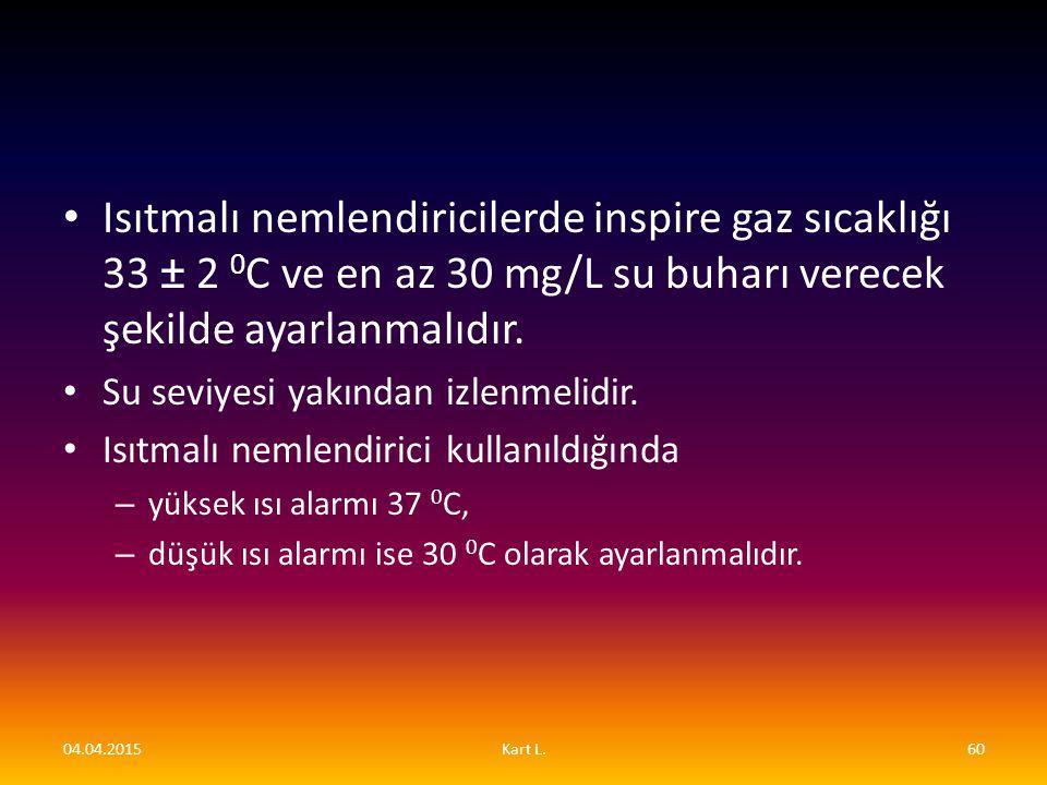 Isıtmalı nemlendiricilerde inspire gaz sıcaklığı 33 ± 2 0 C ve en az 30 mg/L su buharı verecek şekilde ayarlanmalıdır. Su seviyesi yakından izlenmelid