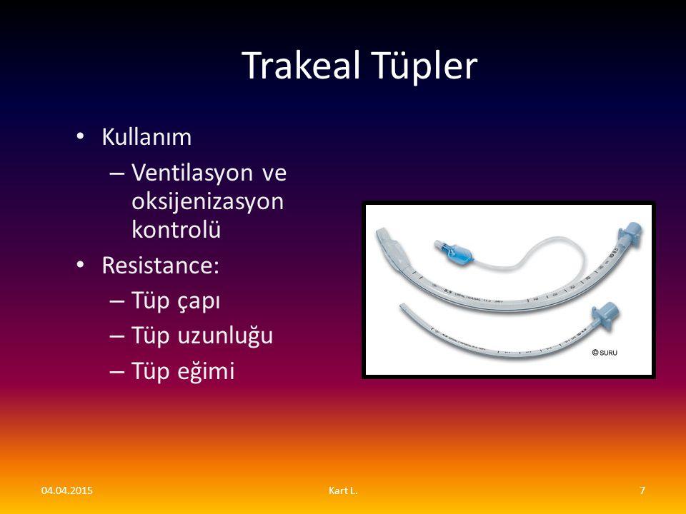Trakeal Tüpler Kullanım – Ventilasyon ve oksijenizasyon kontrolü Resistance: – Tüp çapı – Tüp uzunluğu – Tüp eğimi 04.04.20157Kart L.