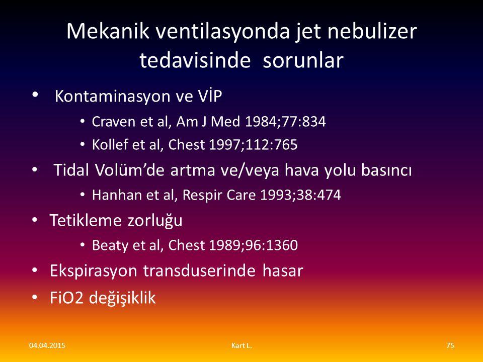 Kontaminasyon ve VİP Craven et al, Am J Med 1984;77:834 Kollef et al, Chest 1997;112:765 Tidal Volüm'de artma ve/veya hava yolu basıncı Hanhan et al,