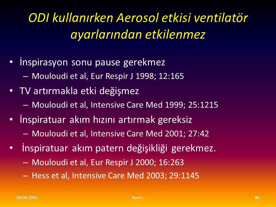 İnspirasyon sonu pause gerekmez – Mouloudi et al, Eur Respir J 1998; 12:165 TV artırmakla etki değişmez – Mouloudi et al, Intensive Care Med 1999; 25: