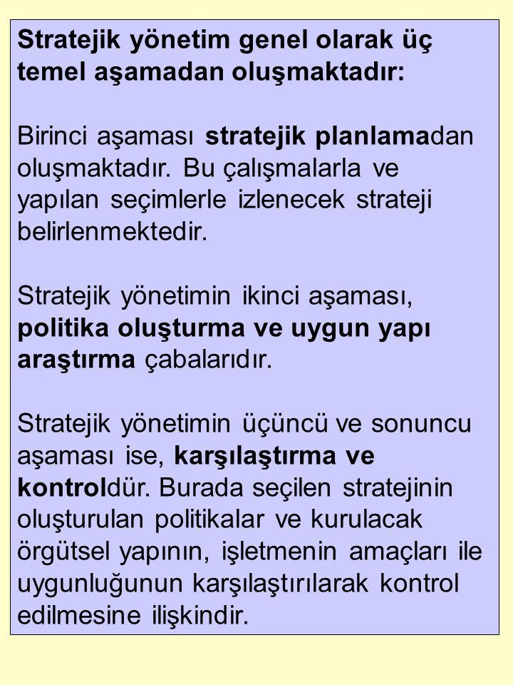Stratejik yönetim genel olarak üç temel aşamadan oluşmaktadır: Birinci aşaması stratejik planlamadan oluşmaktadır. Bu çalışmalarla ve yapılan seçimler