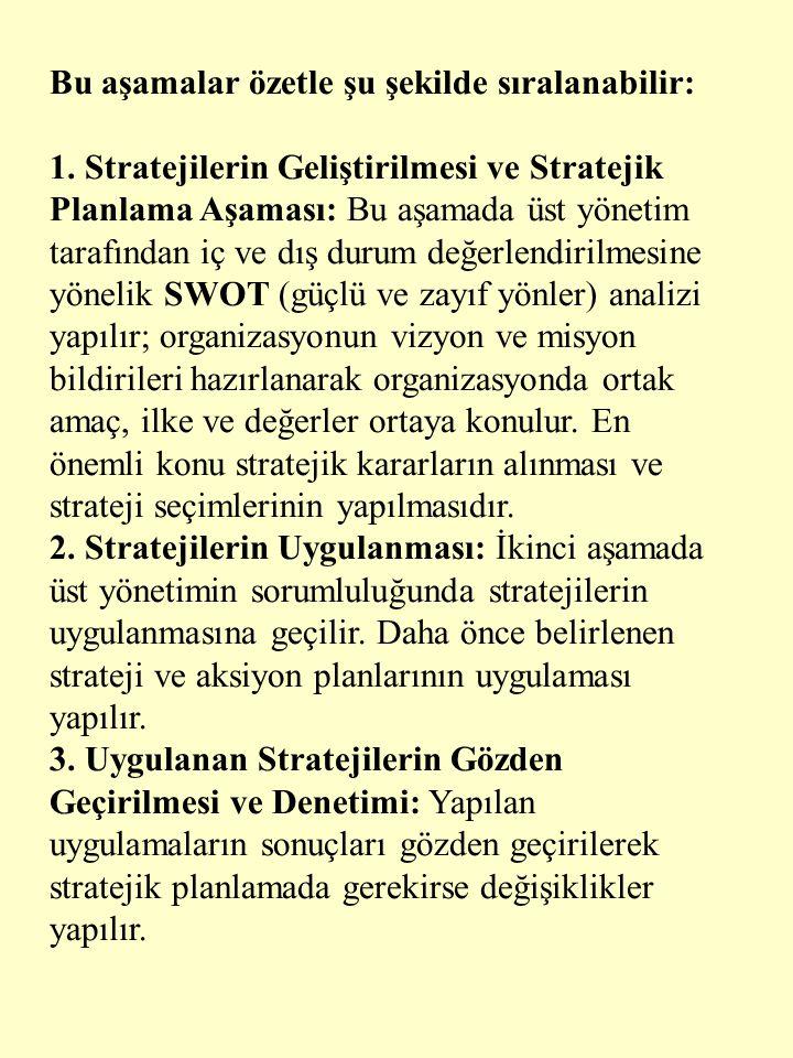 Bu aşamalar özetle şu şekilde sıralanabilir: 1. Stratejilerin Geliştirilmesi ve Stratejik Planlama Aşaması: Bu aşamada üst yönetim tarafından iç ve dı