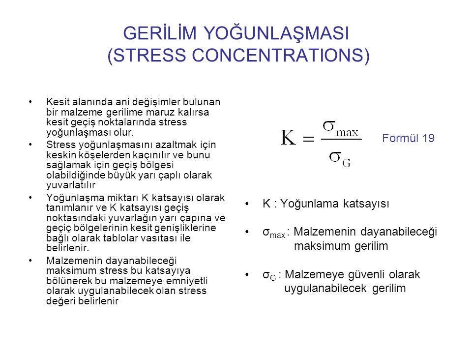 GERİLİM YOĞUNLAŞMASI (STRESS CONCENTRATIONS) Kesit alanında ani değişimler bulunan bir malzeme gerilime maruz kalırsa kesit geçiş noktalarında stress
