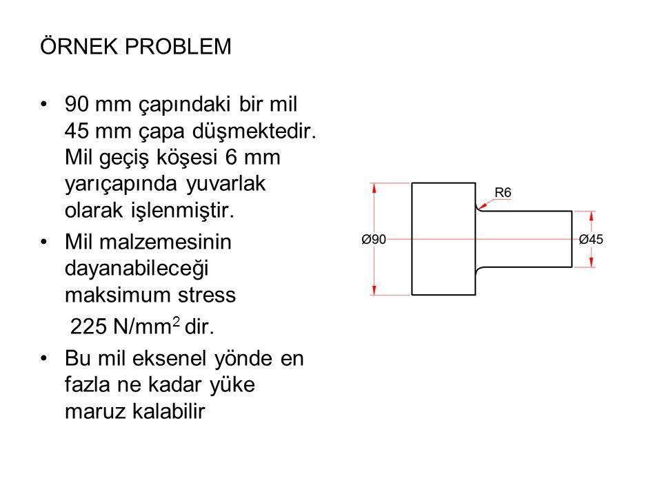ÖRNEK PROBLEM 90 mm çapındaki bir mil 45 mm çapa düşmektedir. Mil geçiş köşesi 6 mm yarıçapında yuvarlak olarak işlenmiştir. Mil malzemesinin dayanabi