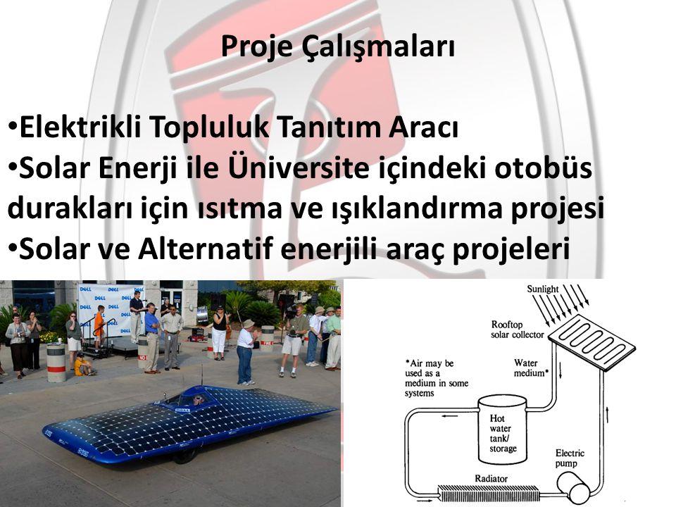 Elektrikli Topluluk Tanıtım Aracı Solar Enerji ile Üniversite içindeki otobüs durakları için ısıtma ve ışıklandırma projesi Solar ve Alternatif enerji