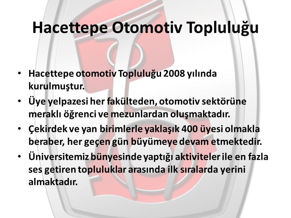 Hacettepe Otomotiv Topluluğu Hacettepe otomotiv Topluluğu 2008 yılında kurulmuştur. Üye yelpazesi her fakülteden, otomotiv sektörüne meraklı öğrenci v