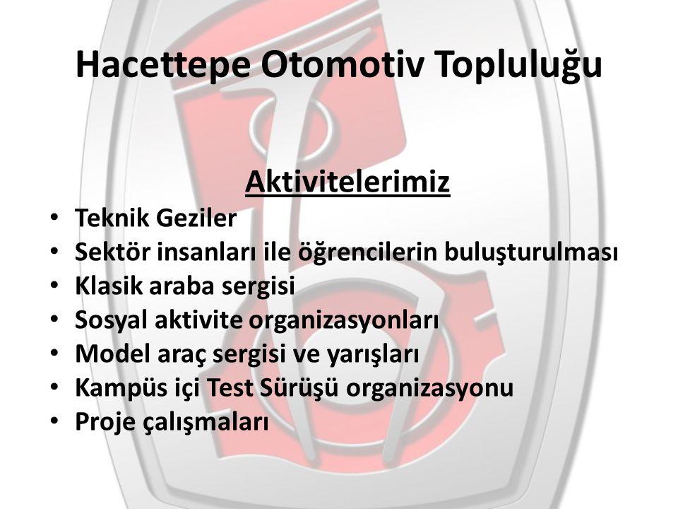 Hacettepe Otomotiv Topluluğu Aktivitelerimiz Teknik Geziler Sektör insanları ile öğrencilerin buluşturulması Klasik araba sergisi Sosyal aktivite orga