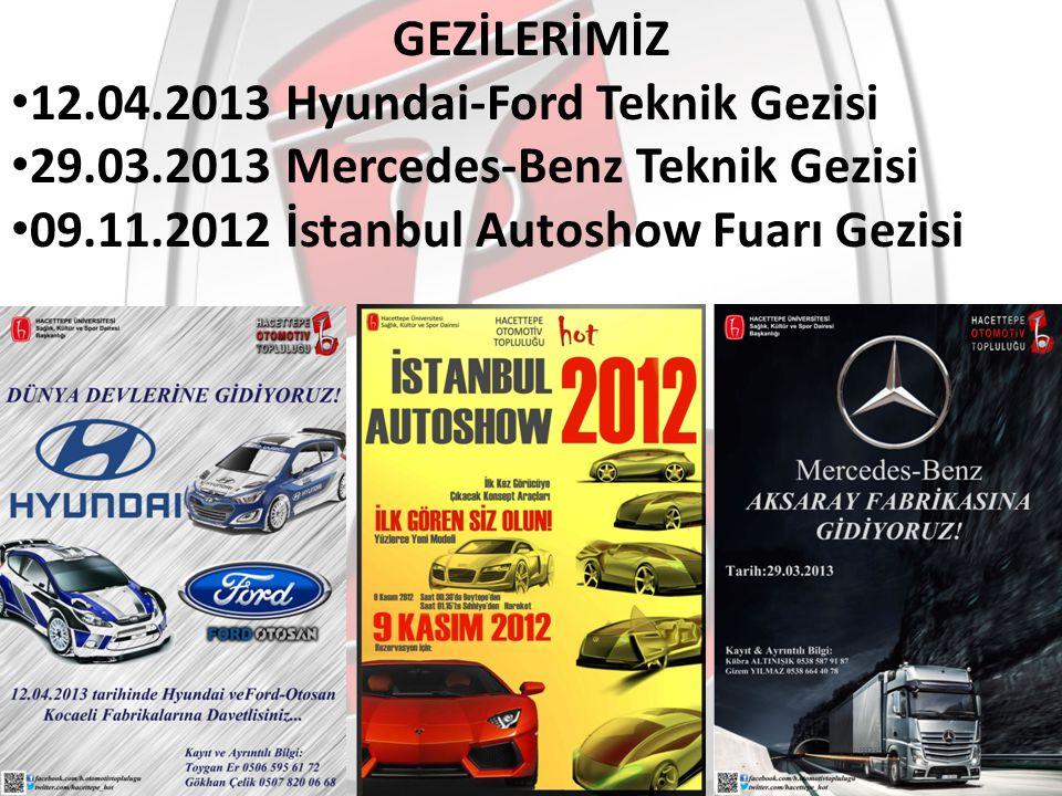 GEZİLERİMİZ 12.04.2013 Hyundai-Ford Teknik Gezisi 29.03.2013 Mercedes-Benz Teknik Gezisi 09.11.2012 İstanbul Autoshow Fuarı Gezisi
