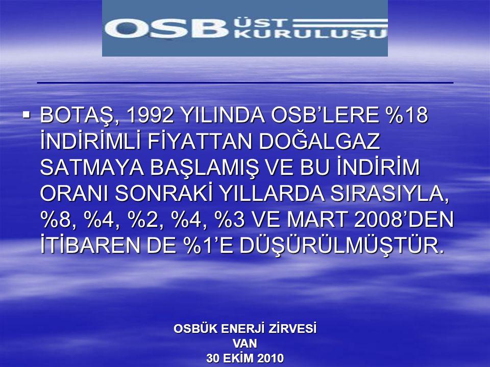 OSBÜK ENERJİ ZİRVESİ VAN 30 EKİM 2010  BOTAŞ, 1992 YILINDA OSB'LERE %18 İNDİRİMLİ FİYATTAN DOĞALGAZ SATMAYA BAŞLAMIŞ VE BU İNDİRİM ORANI SONRAKİ YILL