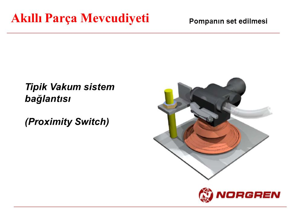 Akıllı Parça Mevcudiyeti Pompanın set edilmesi Tipik Vakum sistem bağlantısı (Proximity Switch)