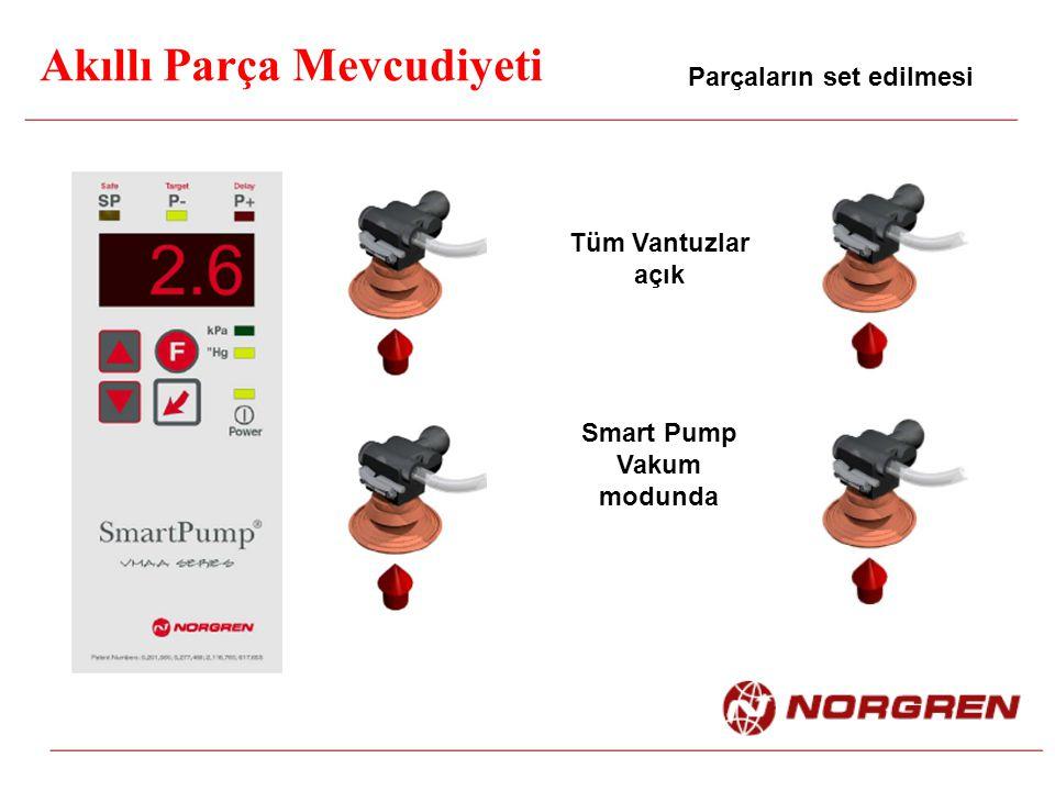 Akıllı Parça Mevcudiyeti Parçaların set edilmesi Tüm Vantuzlar açık Smart Pump Vakum modunda