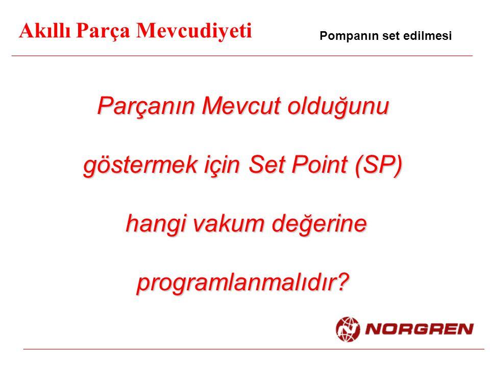 Parçanın Mevcut olduğunu göstermek için Set Point (SP) hangi vakum değerine hangi vakum değerineprogramlanmalıdır? Akıllı Parça Mevcudiyeti Pompanın s