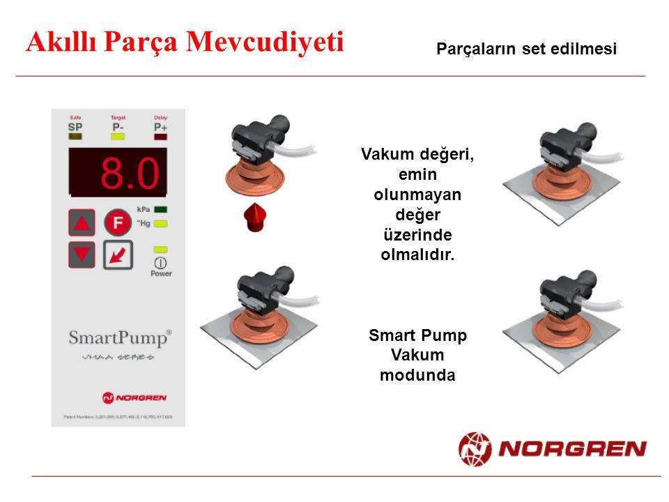 Akıllı Parça Mevcudiyeti Parçaların set edilmesi Vakum değeri, emin olunmayan değer üzerinde olmalıdır. Smart Pump Vakum modunda