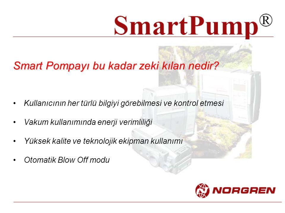 Smart Pompayı bu kadar zeki kılan nedir? Kullanıcının her türlü bilgiyi görebilmesi ve kontrol etmesi Vakum kullanımında enerji verimliliği Yüksek kal