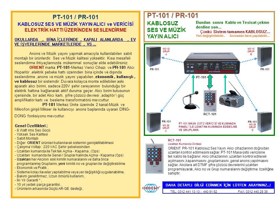 Güç Kaynağı (1,5 Amp.) 8 Watt Ses Amplifikatörü (RMS) Kablosuz Mikrofon Alıcısı (VHF) UZAKTAN KUMANDA ÜNİTESİ (ops) + _ CTT-200 Masa Tipi Verici ORIEN