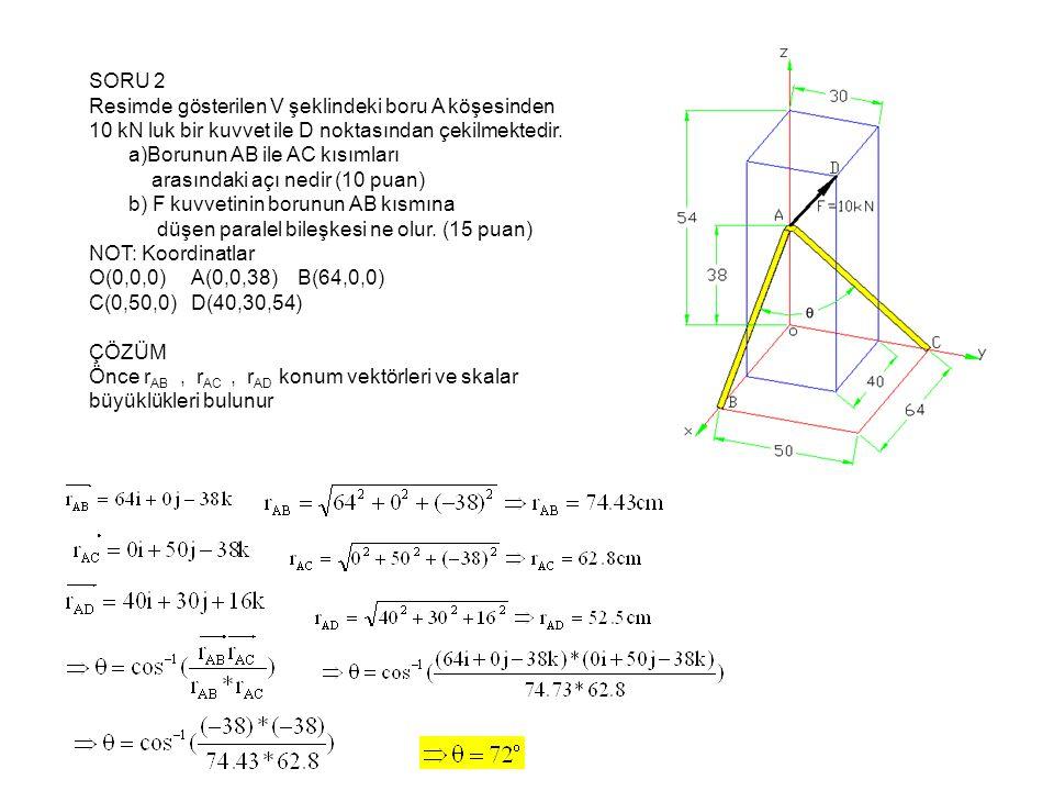 SORU 2 Resimde gösterilen V şeklindeki boru A köşesinden 10 kN luk bir kuvvet ile D noktasından çekilmektedir. a)Borunun AB ile AC kısımları arasındak