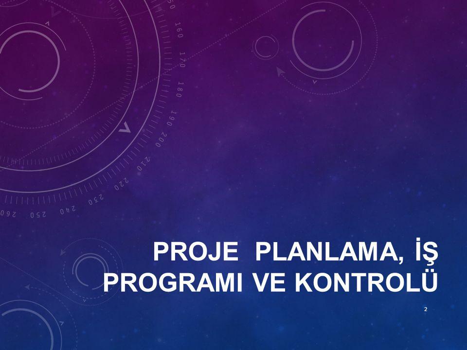 PROJE PLANLAMA VE İŞ PROGRAMININ AMAÇLARI Planlama ve İş Programı bir projenin idari bir sürecidir.