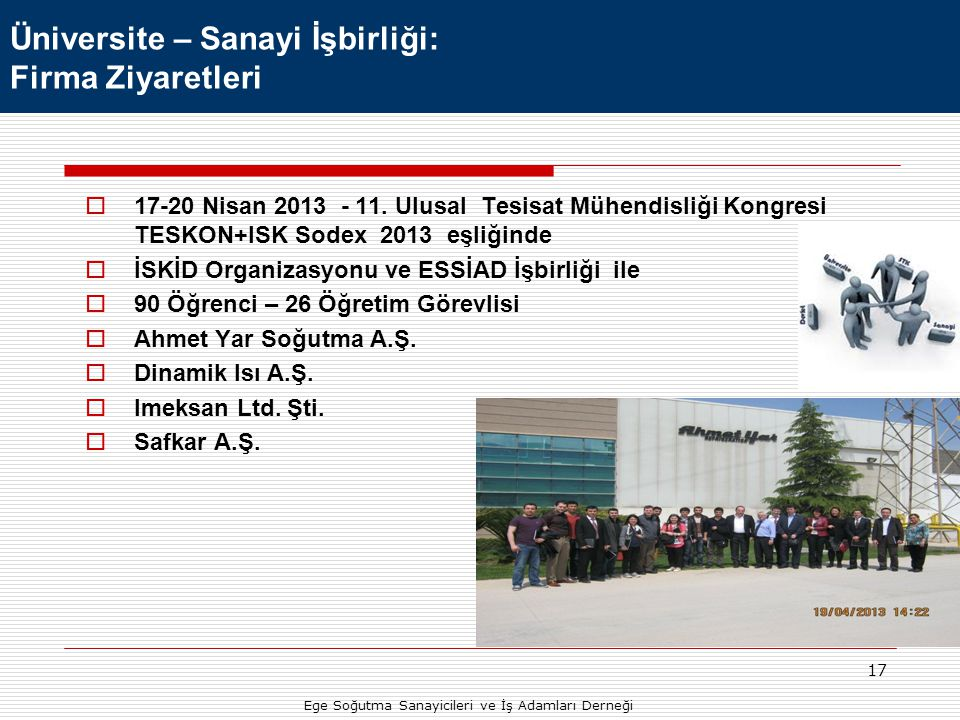 17  17-20 Nisan 2013 - 11. Ulusal Tesisat Mühendisliği Kongresi TESKON+ISK Sodex 2013 eşliğinde  İSKİD Organizasyonu ve ESSİAD İşbirliği ile  90 Öğ