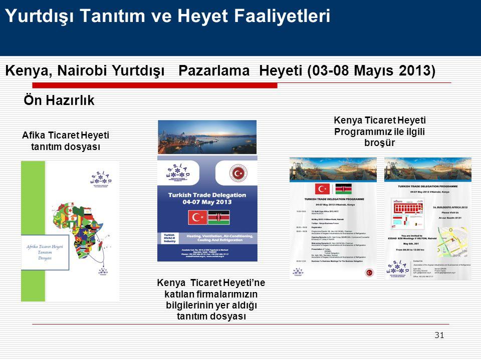 31 Yurtdışı Tanıtım ve Heyet Faaliyetleri Kenya, Nairobi Yurtdışı Pazarlama Heyeti (03-08 Mayıs 2013) Ön Hazırlık Afika Ticaret Heyeti tanıtım dosyası