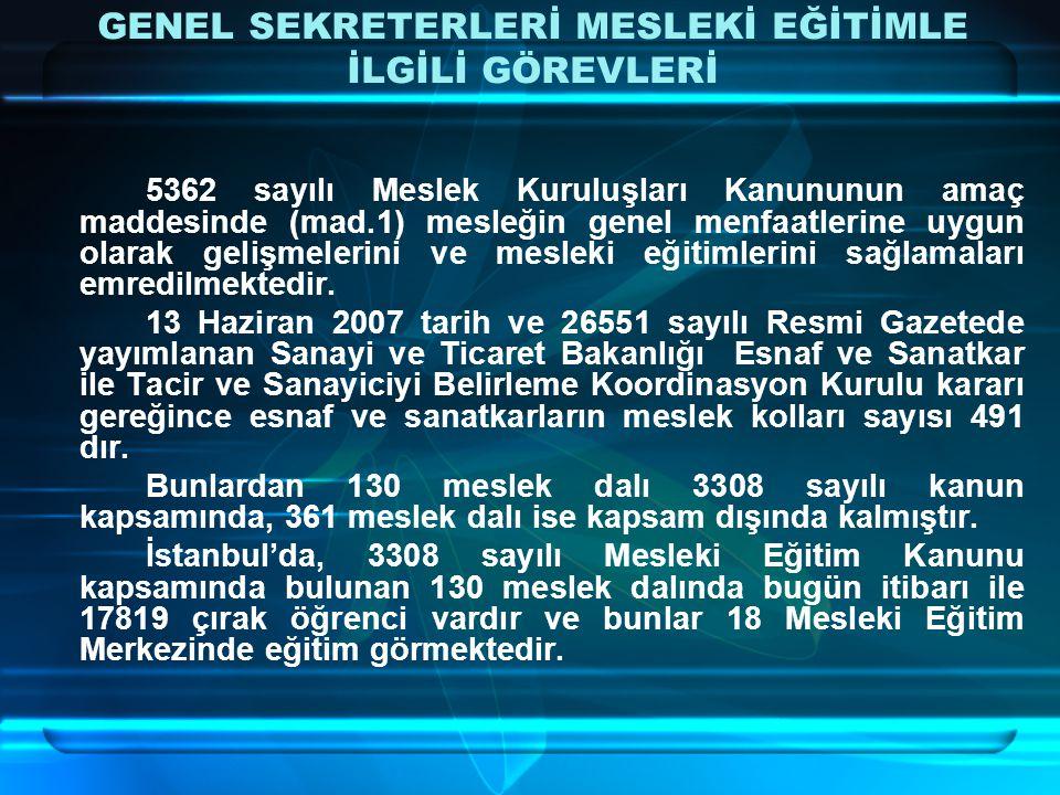 17819 çırak öğrenci sayısı ile İstanbul'daki esnaf ve sanatkar sayısına bakıldığında, çırak öğrenci yok denecek kadar azdır.