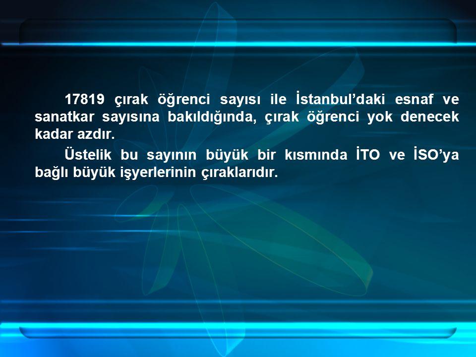 17819 çırak öğrenci sayısı ile İstanbul'daki esnaf ve sanatkar sayısına bakıldığında, çırak öğrenci yok denecek kadar azdır. Üstelik bu sayının büyük