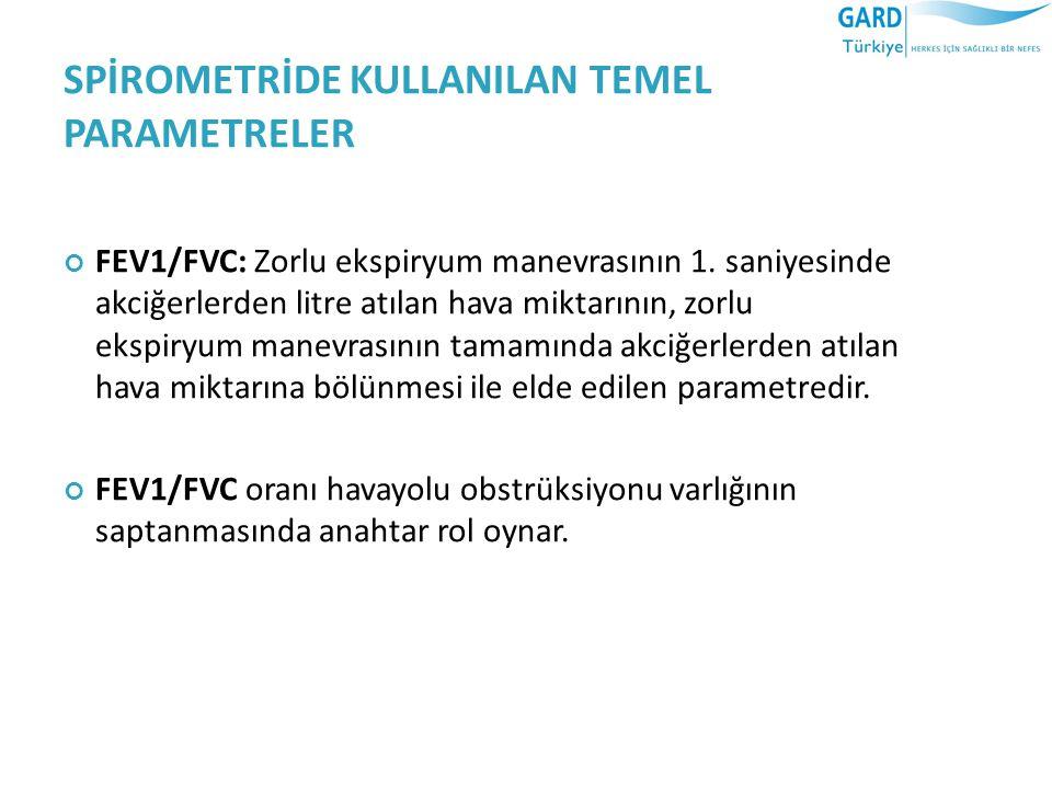SPİROMETRİDE KULLANILAN TEMEL PARAMETRELER FEV1/FVC: Zorlu ekspiryum manevrasının 1.