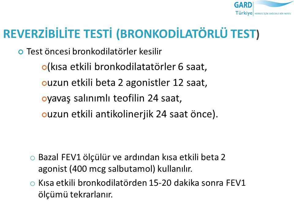REVERZİBİLİTE TESTİ (BRONKODİLATÖRLÜ TEST ) Test öncesi bronkodilatörler kesilir (kısa etkili bronkodilatatörler 6 saat, uzun etkili beta 2 agonistler 12 saat, yavaş salınımlı teofilin 24 saat, uzun etkili antikolinerjik 24 saat önce).