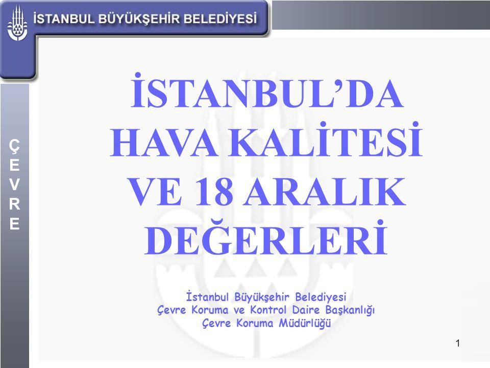 ÇEVREÇEVRE 1 İSTANBUL'DA HAVA KALİTESİ VE 18 ARALIK DEĞERLERİ İstanbul Büyükşehir Belediyesi Çevre Koruma ve Kontrol Daire Başkanlığı Çevre Koruma Müd