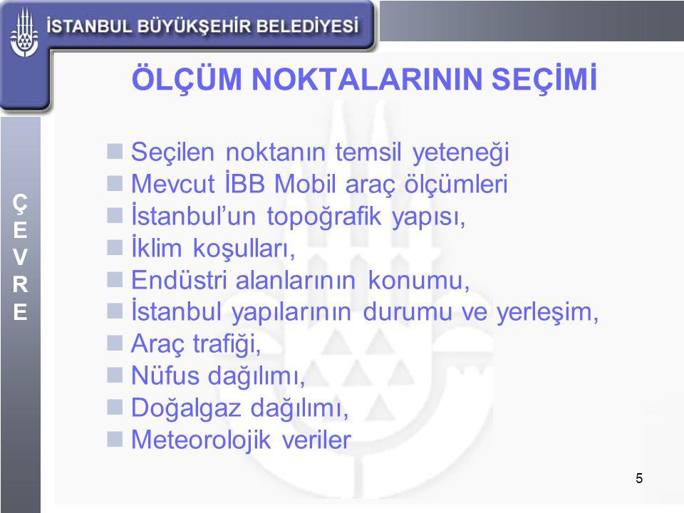 ÇEVREÇEVRE 5 ÖLÇÜM NOKTALARININ SEÇİMİ Seçilen noktanın temsil yeteneği Mevcut İBB Mobil araç ölçümleri İstanbul'un topoğrafik yapısı, İklim koşulları