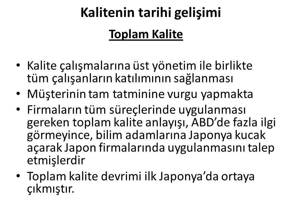 Kalitenin tarihi gelişimi Toplam Kalite Kalite çalışmalarına üst yönetim ile birlikte tüm çalışanların katılımının sağlanması Müşterinin tam tatminine