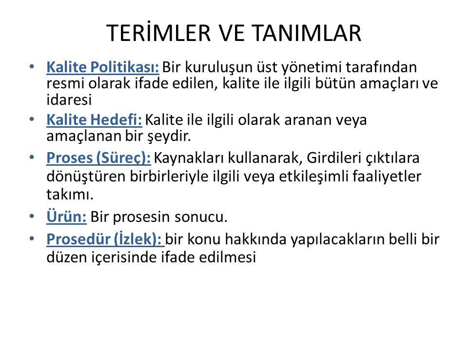 TERİMLER VE TANIMLAR Kalite Politikası: Bir kuruluşun üst yönetimi tarafından resmi olarak ifade edilen, kalite ile ilgili bütün amaçları ve idaresi K