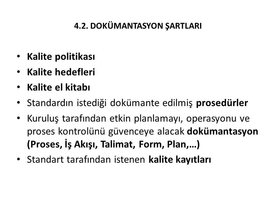 4.2. DOKÜMANTASYON ŞARTLARI Kalite politikası Kalite hedefleri Kalite el kitabı Standardın istediği dokümante edilmiş prosedürler Kuruluş tarafından e