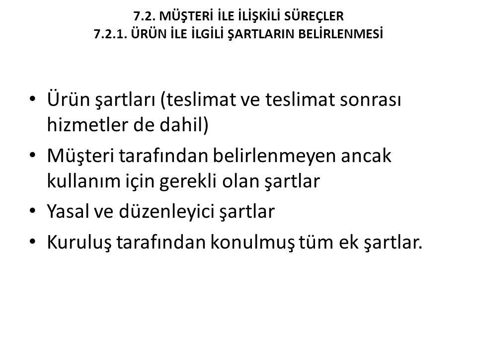 7.2. MÜŞTERİ İLE İLİŞKİLİ SÜREÇLER 7.2.1. ÜRÜN İLE İLGİLİ ŞARTLARIN BELİRLENMESİ Ürün şartları (teslimat ve teslimat sonrası hizmetler de dahil) Müşte