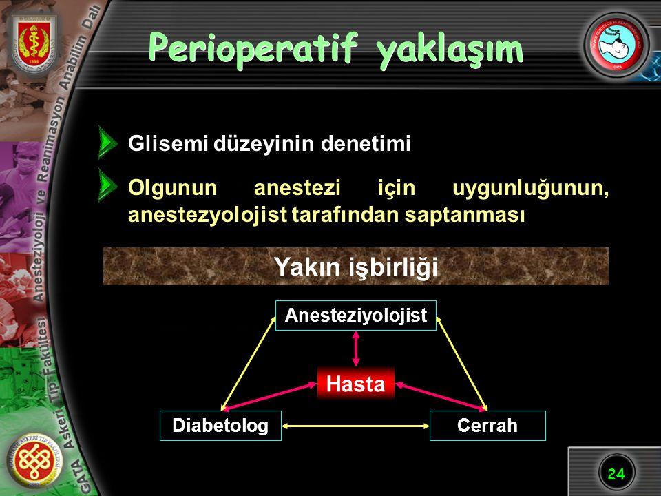 24 Perioperatif yaklaşım Glisemi düzeyinin denetimi Olgunun anestezi için uygunluğunun, anestezyolojist tarafından saptanması Hasta Anesteziyolojist D