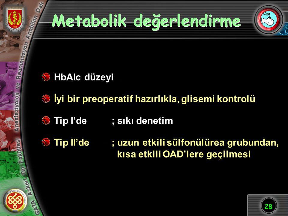 28 Metabolik değerlendirme HbAIc düzeyi İyi bir preoperatif hazırlıkla, glisemi kontrolü Tip I'de; sıkı denetim Tip II'de; uzun etkili sülfonülürea gr
