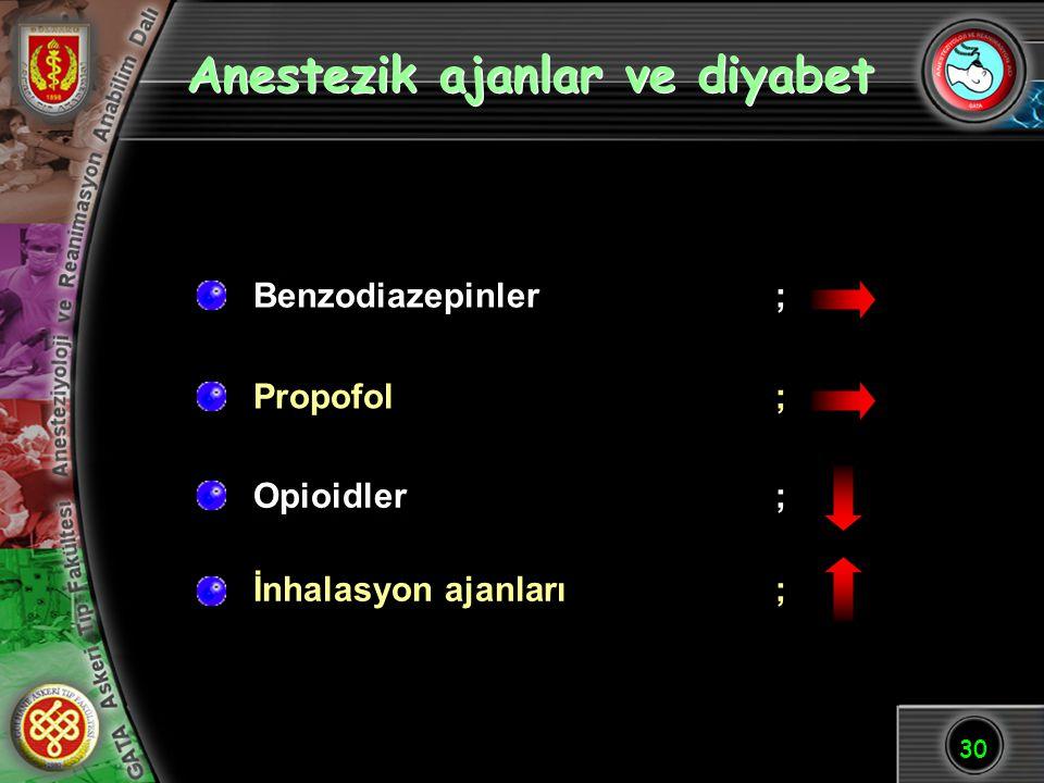 30 Anestezik ajanlar ve diyabet Benzodiazepinler; Propofol; Opioidler ; İnhalasyon ajanları;