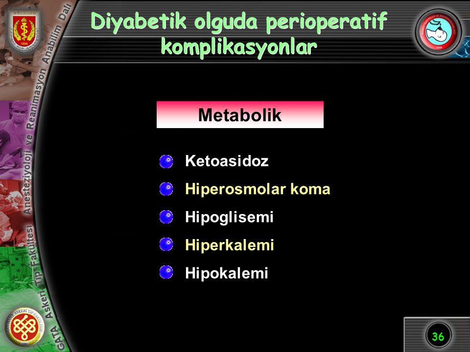 36 Diyabetik olguda perioperatif komplikasyonlar Hipoglisemi Hiperkalemi Metabolik Hiperosmolar koma Ketoasidoz Hipokalemi