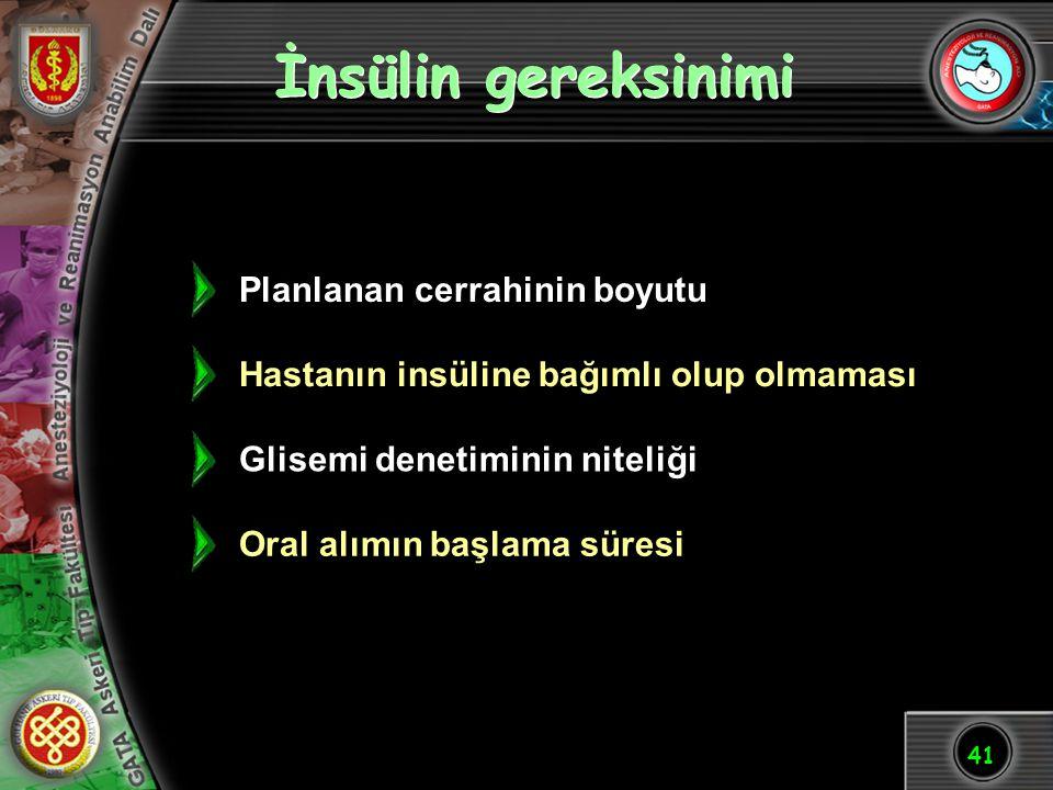 41 İnsülin gereksinimi Glisemi denetiminin niteliği Oral alımın başlama süresi Hastanın insüline bağımlı olup olmaması Planlanan cerrahinin boyutu