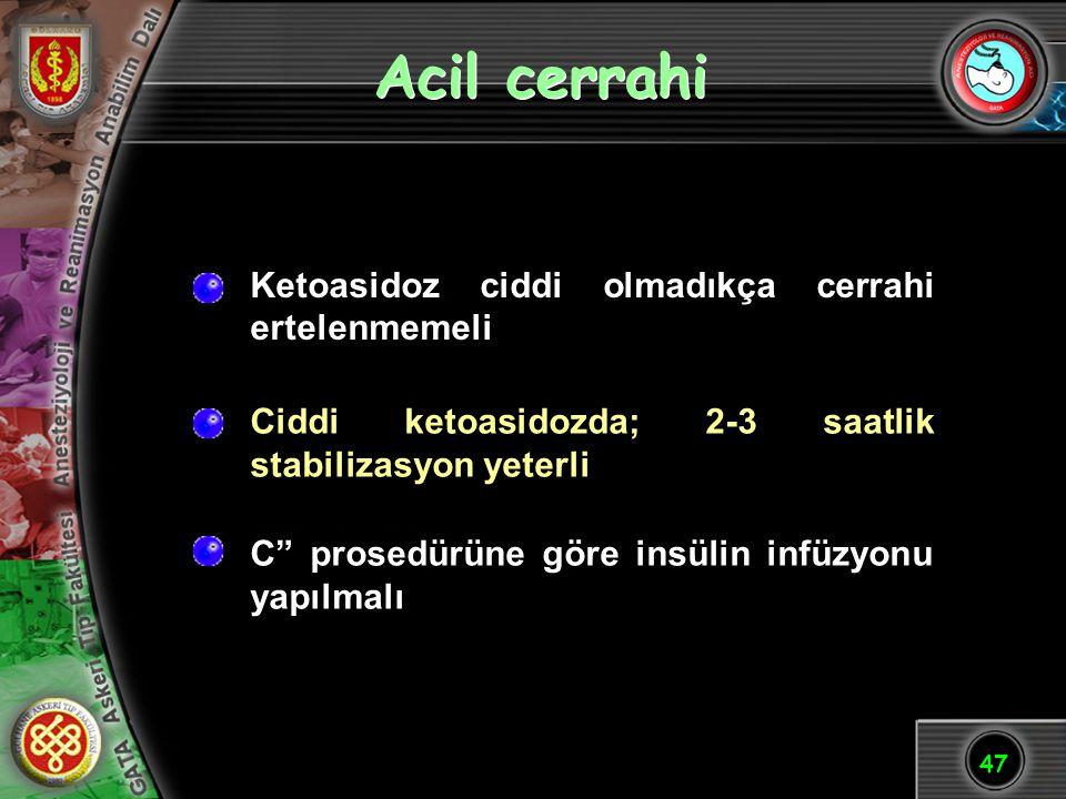 """47 Acil cerrahi C"""" prosedürüne göre insülin infüzyonu yapılmalı Ciddi ketoasidozda; 2-3 saatlik stabilizasyon yeterli Ketoasidoz ciddi olmadıkça cerra"""