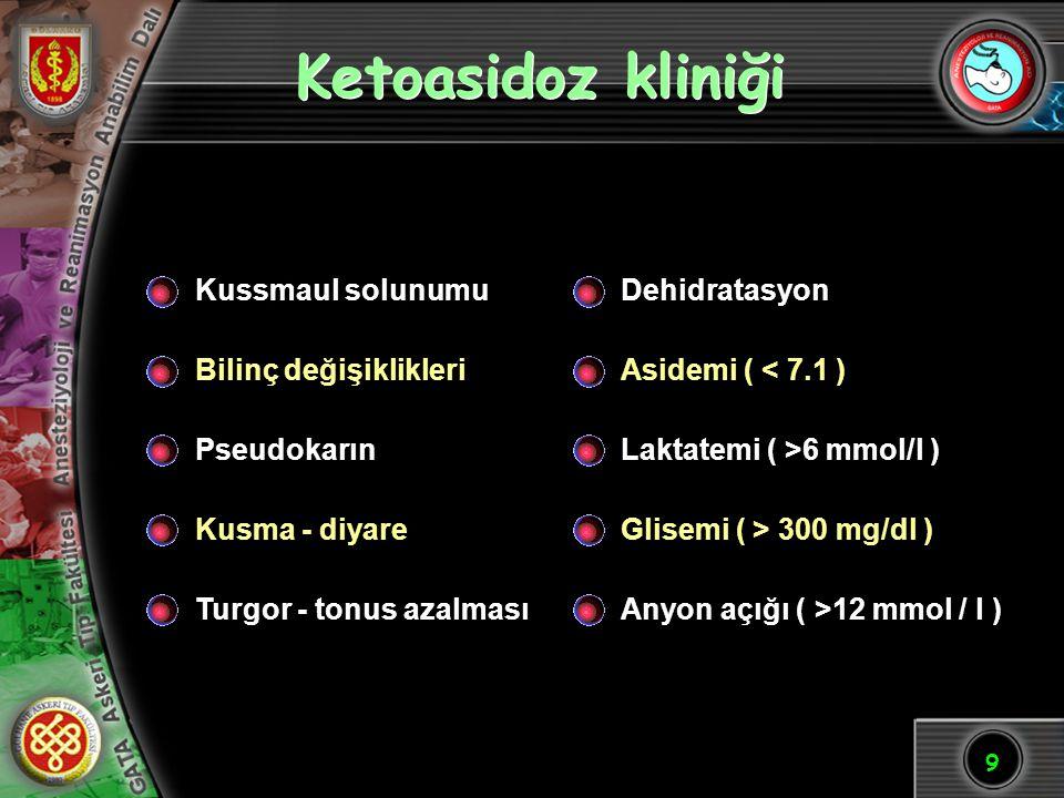 9 Ketoasidoz kliniği Kussmaul solunumu Bilinç değişiklikleri Pseudokarın Kusma - diyare Turgor - tonus azalması Dehidratasyon Asidemi ( < 7.1 ) Laktat