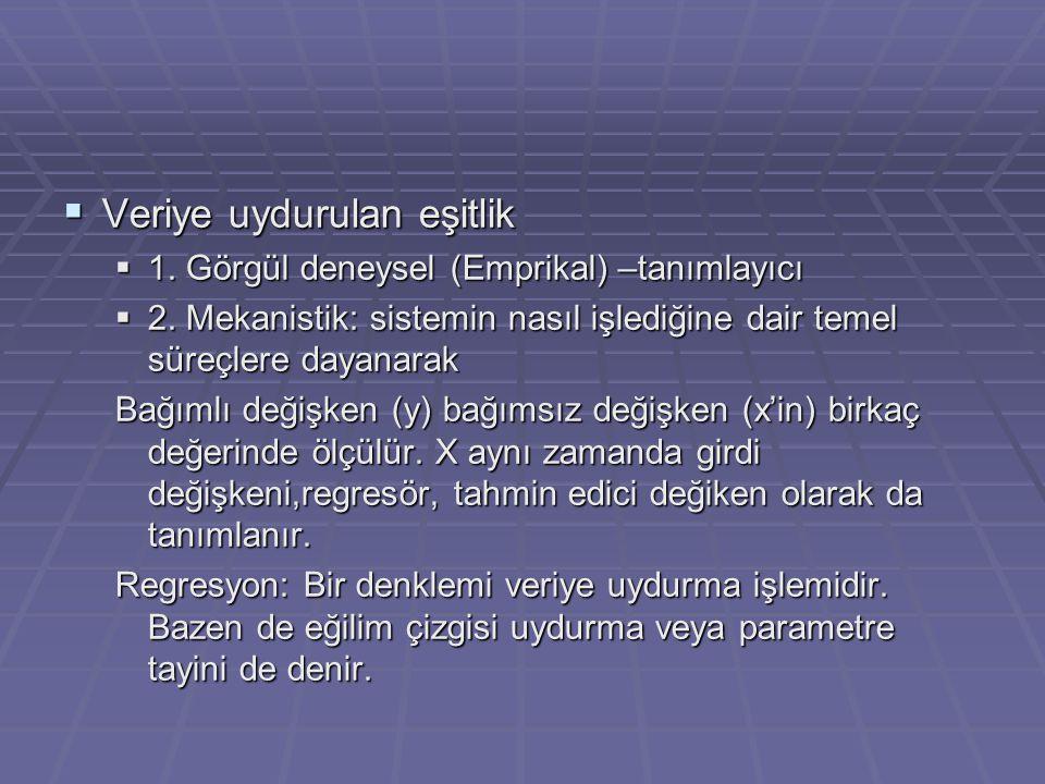  Veriye uydurulan eşitlik  1.Görgül deneysel (Emprikal) –tanımlayıcı  2.