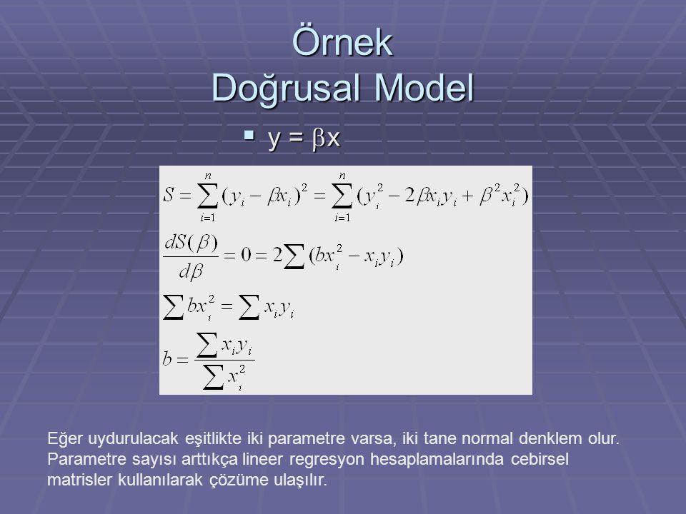 Örnek Doğrusal Model  y =  x Eğer uydurulacak eşitlikte iki parametre varsa, iki tane normal denklem olur. Parametre sayısı arttıkça lineer regresyo