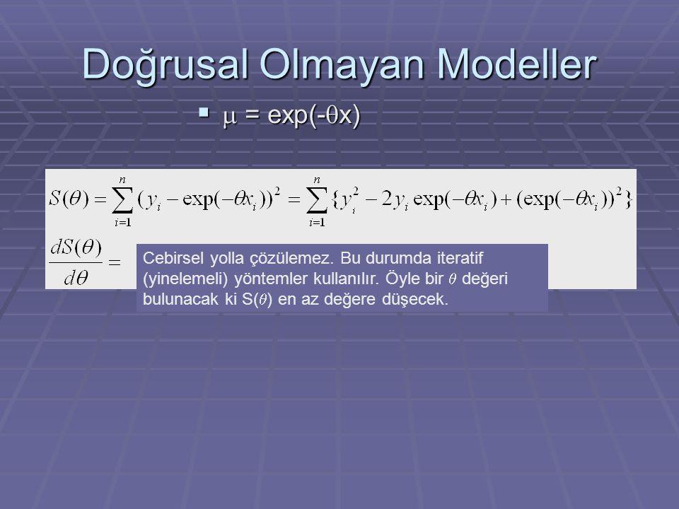 Doğrusal Olmayan Modeller   = exp(-  x) Cebirsel yolla çözülemez. Bu durumda iteratif (yinelemeli) yöntemler kullanılır. Öyle bir  değeri bulunaca