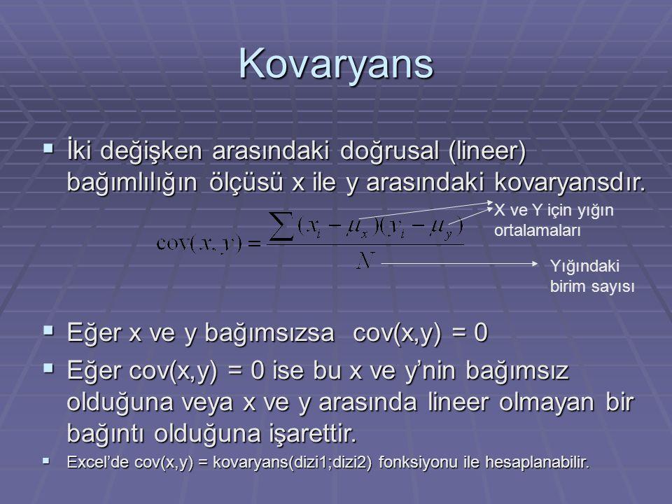 Kovaryans  İki değişken arasındaki doğrusal (lineer) bağımlılığın ölçüsü x ile y arasındaki kovaryansdır.
