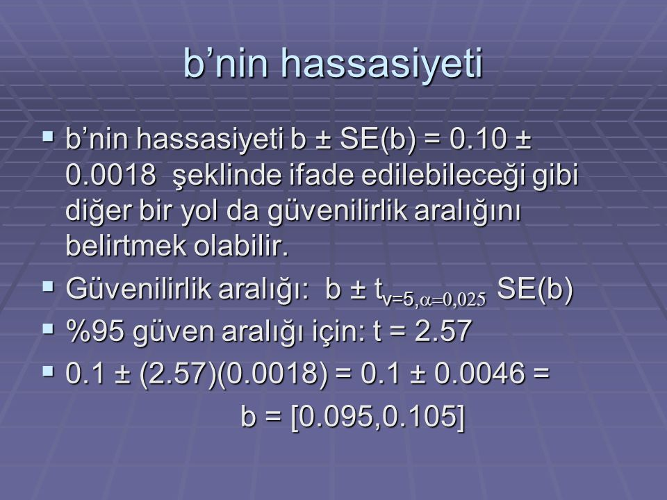 b'nin hassasiyeti  b'nin hassasiyeti b ± SE(b) = 0.10 ± 0.0018 şeklinde ifade edilebileceği gibi diğer bir yol da güvenilirlik aralığını belirtmek olabilir.