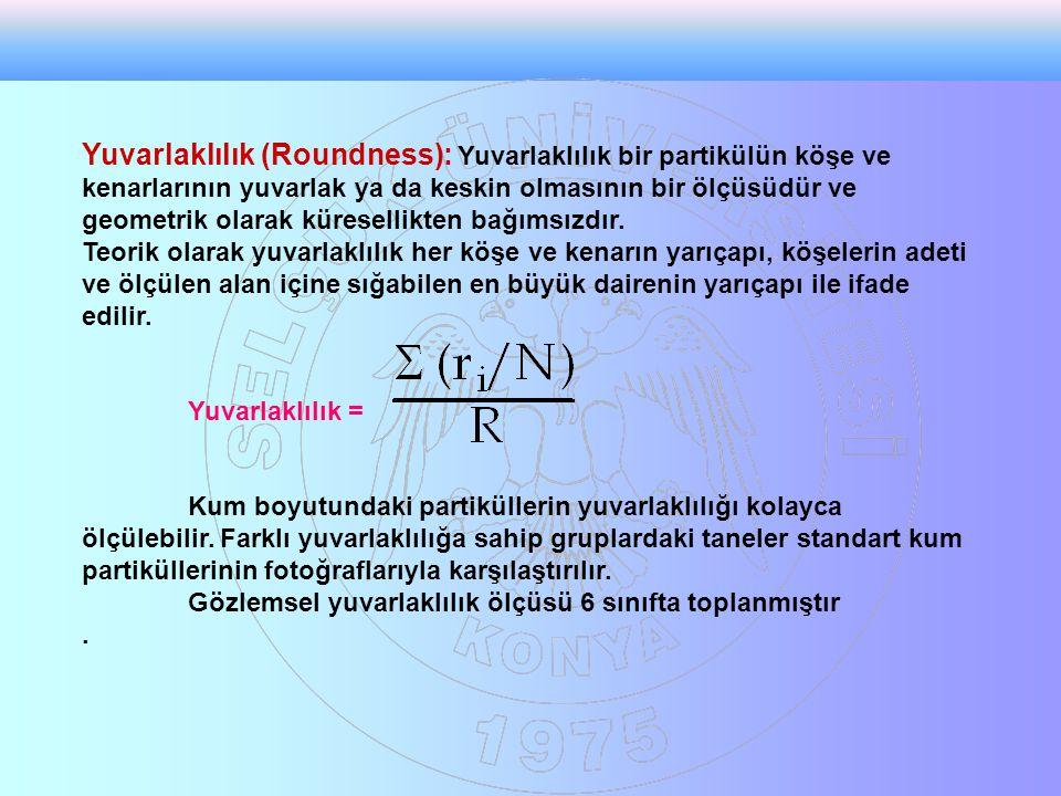 Yuvarlaklılık (Roundness): Yuvarlaklılık bir partikülün köşe ve kenarlarının yuvarlak ya da keskin olmasının bir ölçüsüdür ve geometrik olarak küresel