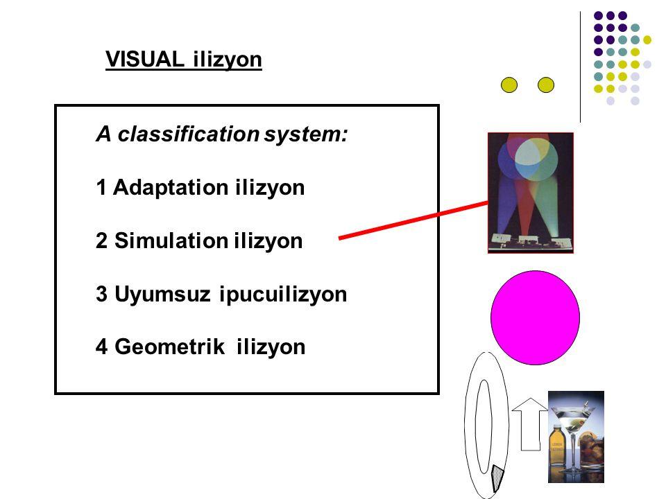 VISUAL ilizyon A classification system: 1 Adaptation ilizyon 2 Simulation ilizyon 3 Uyumsuz ipucuilizyon 4 Geometrik ilizyon