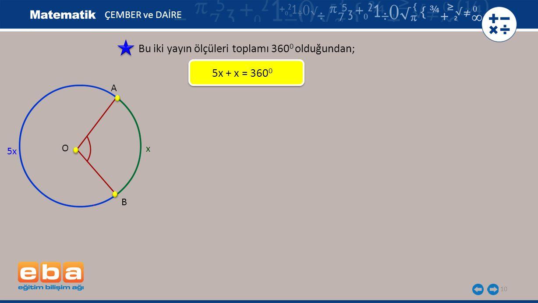 10 ÇEMBER ve DAİRE Bu iki yayın ölçüleri toplamı 360 0 olduğundan; 5x + x = 360 0 5x B A O x