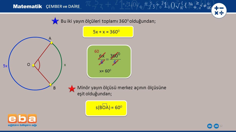 12 ÇEMBER ve DAİRE Bu iki yayın ölçüleri toplamı 360 0 olduğundan; 5x + x = 360 0 5x B A O x 6 6 60 Minör yayın ölçüsü merkez açının ölçüsüne eşit old